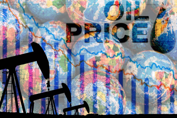 silhouette industrial oil pump jack and falling oil graph silhouette industrial oil pump jack and falling oil graph on the blue globe background with the word oil price, oil price falling crisis concept ny stocks up down stock pictures, royalty-free photos & images