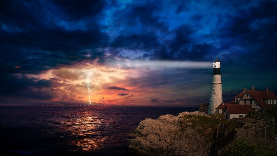 Lighthouse, Light, Lighting, Fantasy, Building, Storm
