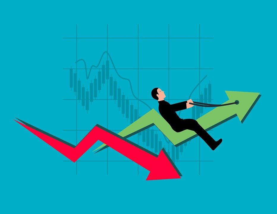 Chart, Arrow, Businessman, Stock, Panic, Fall, Rise